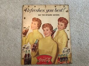 1950's Coca Cola Cardboard Sign  Great Graphics  Missing Easel
