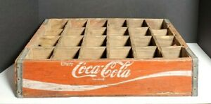 Vintage Red Coca Cola Wooden Crate 24 Slot 18.5