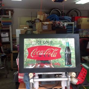 Coca-Cola Framed Mirrored Fishtail w/Bottle Sign