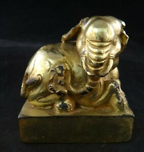 Antique Chinese Gilt Bronze Elephant Seal Stamp 3 5 8 X 2 X 4 Tall