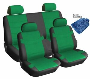 Synthetic Faux Leather Black Green Seat Covers 4 Headrests Steering Wheel
