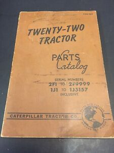 Caterpillar Tractor Book 22 Tractor Parts Catalog Vintage Serial 2f1 2f9999 Sh7