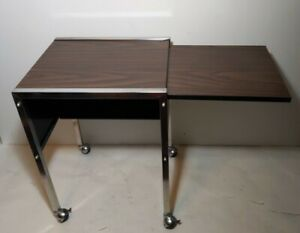 Buddy Products Vintage Formica Steel Rolling Office Table Desk Cart Extension