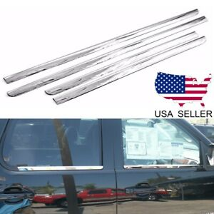 For 2007 2013 Chevy Silverado gmc Sierra Crew Cab Stainless Window Sill Trims