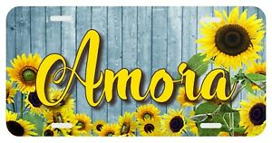 Sunflowers Personalized Monogrammed License Plate Custom Auto Car Tag Yellow