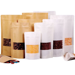 Brown White Kraft Paper Pouches Stand Up Food Bag With Clear Window