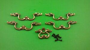 4 Large And 1 Small Antique Vintage Dresser Drawer Handles Pulls