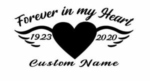 Custom In Loving Memory Heart Wings Vinyl Car Window Decal Sticker Name Rip