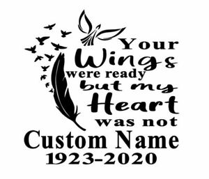Custom In Loving Memory Your Wings Vinyl Car Window Decal Sticker Name Rip