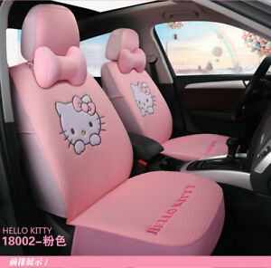 Hello Kitty Cartoon Car Seat Covers Set Universal Car Interior Pink