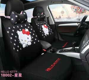 Hello Kitty Cartoon Car Seat Covers Set Universal Car Interior Black With Star