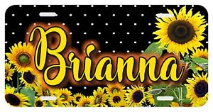 Sunflower Dots Personalized Monogrammed License Plate Custom Auto Car Tag