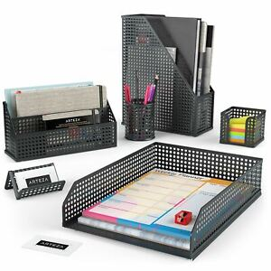 Arteza Desk Organizer Black Mesh 6 Piece Set