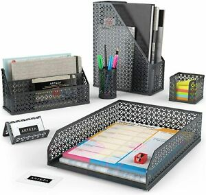 Arteza Desk Organizer Gray Mesh 6 Piece Set