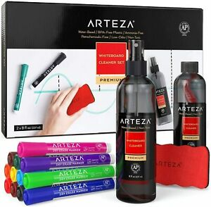 Arteza Whiteboard Cleaner Set With 12 Chisel Tip Dry Erase Markers