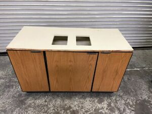 54x24 Coffee Creamer Condiment Trash Cart Waste Station Prep Cabinet 4144 Table