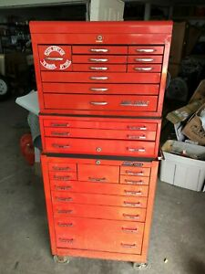 Mac Tools Large 23 Drawer Toolbox 78 Tall 3 Piece Plus Side Shelf Vintage Tool