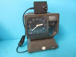 Amano Employee Time Punch Clock Tcx 21 Electronic Used W Power Cord And Key