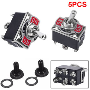 5x 3 Position 6 Terminal On off on Dpdt Toggle Switch waterproof Boot 20a 125va