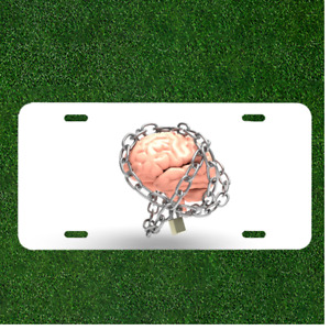 Custom Personalized License Plate Auto Tag With Brain In Chains Design Add Names