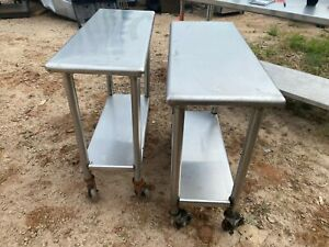 Set Of 2 Commercial Stainless Steel 36 X 15 Kitchen Work Prep Mobile Tables