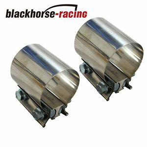 2 3 4 Stainless Steel T304 Butt Joint Band 2 75 Exhaust Clamp Sleeve Couplerx2