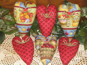 6 Fabric Hearts 3 Red Print 3 Apples Country Decor Handmade Wreath Accents