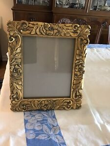 Vintage Heavy Gilt Floral Foliate Carved Wood Picture Frame Thailand