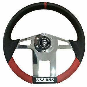 Sparco Hexagon Steering Wheel Black Red Chrome Leather 350 Mm
