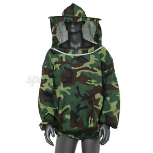 Camouflage Beekeeping Jacket Veil Bee Keeping Suit Hat Pull Over Smock Protect