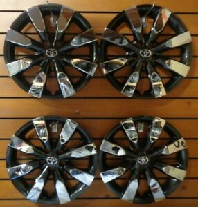 4 New 16 Charcoal chrome Hubcaps Wheel Covers Fits 2014 16 Toyota Corolla 61172