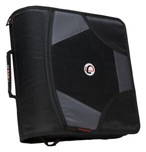 Case it Zipper Binder With 5 Tab Files D ring 4 Inches Black