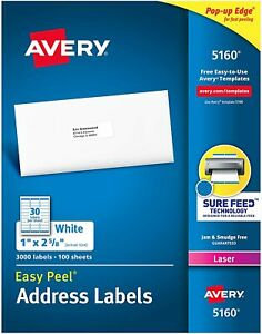 Avery Easy Peel Permanent Laser Address Labels 1 X 2 5 8 3000 Labels