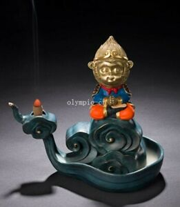 8 Bronze Brass Copper Freehand Colored Drawing Sun Wukong Monkey King Censer