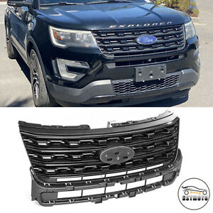 Front Bumper Upper Grille Grill Black Factory Style For 2016 2017 Ford Explorer