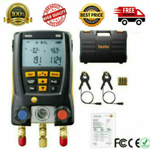 Testo 550 Refrigeration Meter Digital Manifold 0563 1550 W 2pc Clamp Probes Set