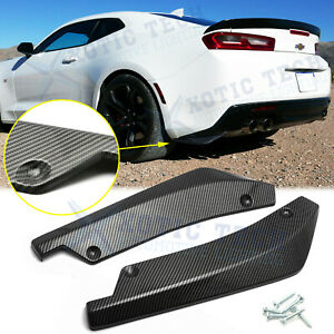 For Chevy Camaro Carbon Fiber Texture Rear Bumper Splitter Diffuser Canard 2pcs