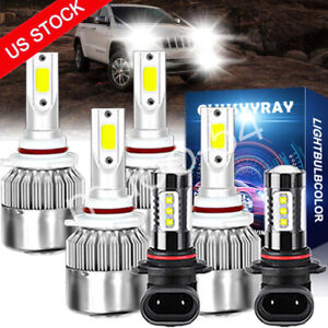 6x Led Headlight Bulbs High Low Beam Fog Light For Jeep Grand Cherokee 1999 2004