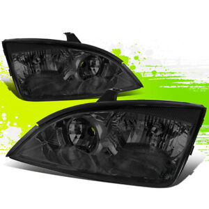 Smoked Housing Clear Side Bumper Headlight Lamps For 05 07 Ford Focus 1st Gen