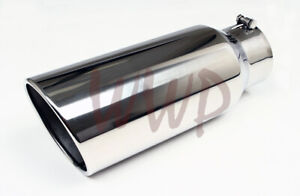 Polished Stainless Bolt On Angle Cut Roll Exhaust Tip 4 Inlet 6 Outlet 15 long