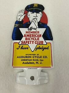 Vtg Member American Bicycle Safety Club Audubon Cycle Co Nj License Plate Topper