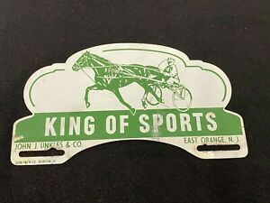 Vintage King Of Sports Horse Racing East Orange Nj Harness License Plate Topper