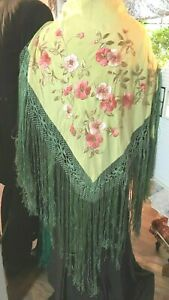 Long Fringe Antique Silk Embroidered Piano Scarf Shawl
