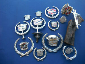 Lot Of 17 Vintage Cadillac Hood Emblems Oem