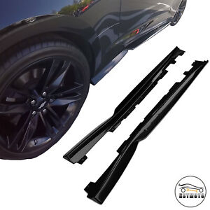 Gloss Black T6 Style Side Skirts Rocker Panels For 16 20 Chevy Camaro Ss Rs Lt