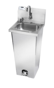 All Stainless Steel Krowne Metal Hs 14 Pedestal Sink With Soap Dispenser