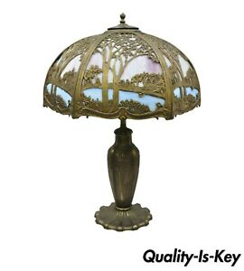 Art Nouveau Pink Blue Stained Glass Shade Tiffany Handel Style Parlor Lamp