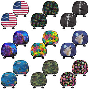Fashion Printed Car Seat Headrest Cover Universal Fit For Car truck suv 2 4 Pcs