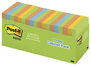 Post it Notes 3 X 3 Inches Jaipur Colors 18 Pads With 100 Sheets Each