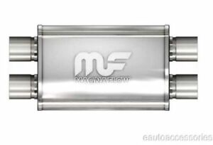 Magnaflow 11386 Universal Stainless Steel Oval Exhaust Muffler 2 5 In Out